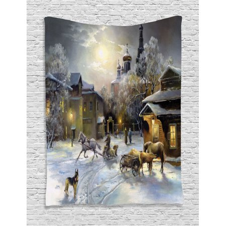 Country Decor Wall Hanging Tapestry, Winter Landscape Of A Western Town At Night In New World Rurals In Retro Style Art Print Deco, Bedroom Living Room Dorm Accessories, By - Country And Western Accessories