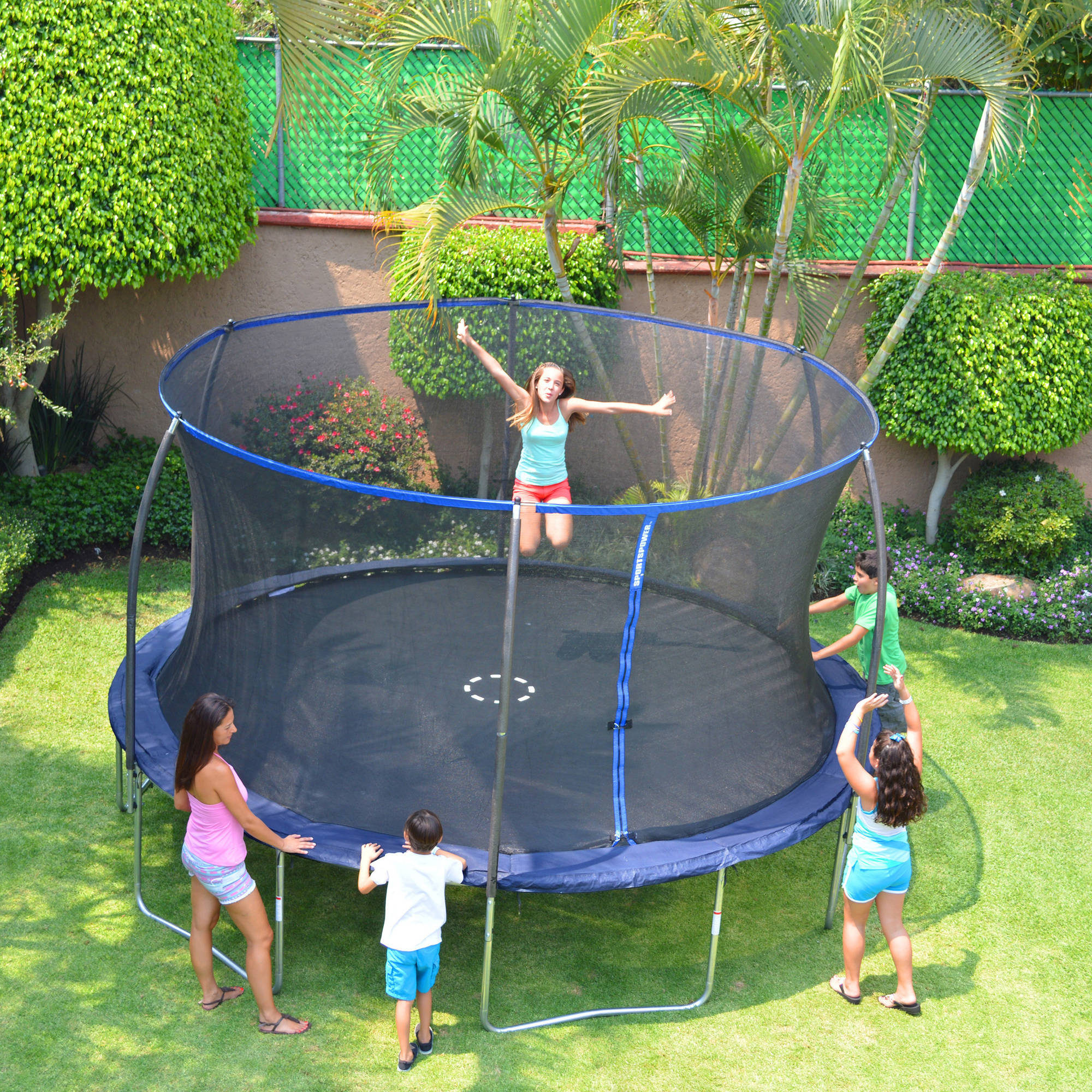 Bounce Pro 14-Foot Trampoline, with Enclosure, Dark Blue (Box 1 of 2)