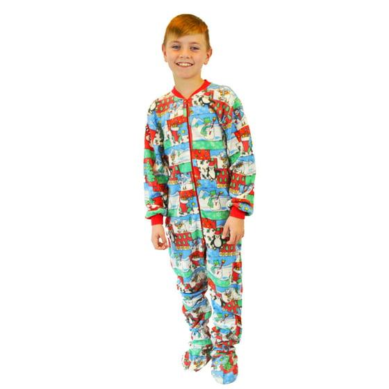 4e3c6468d Big Feet Pajamas - Kids Fleece Christmas One Piece Footed Pajamas ...