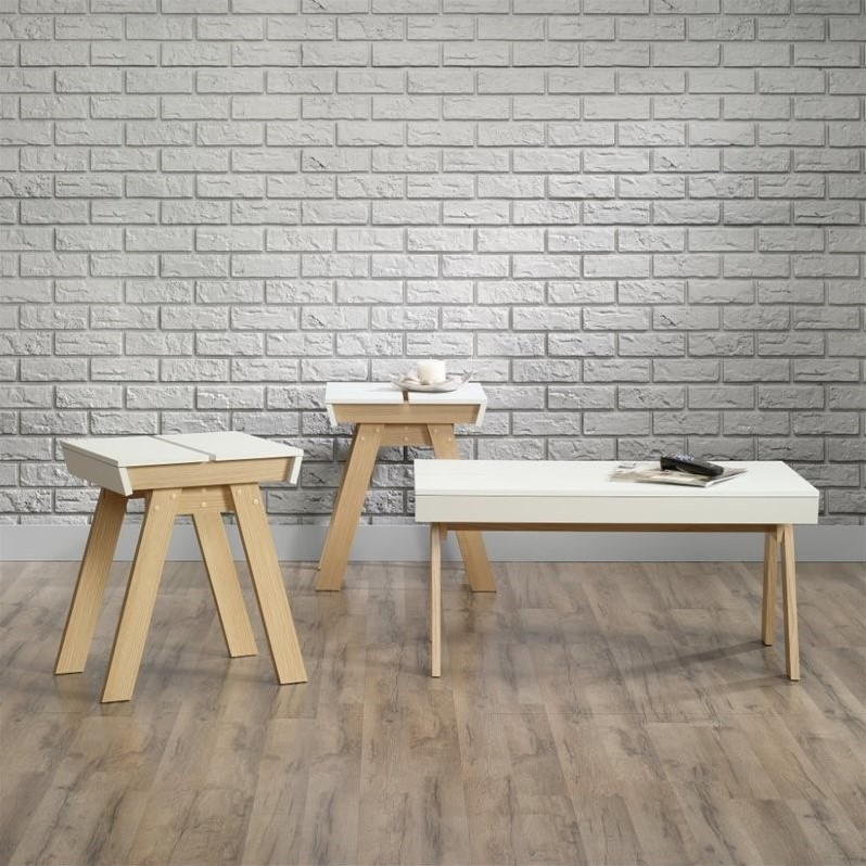 Sauder Square 1 Three-Piece Table Set, Urban Ash Finish