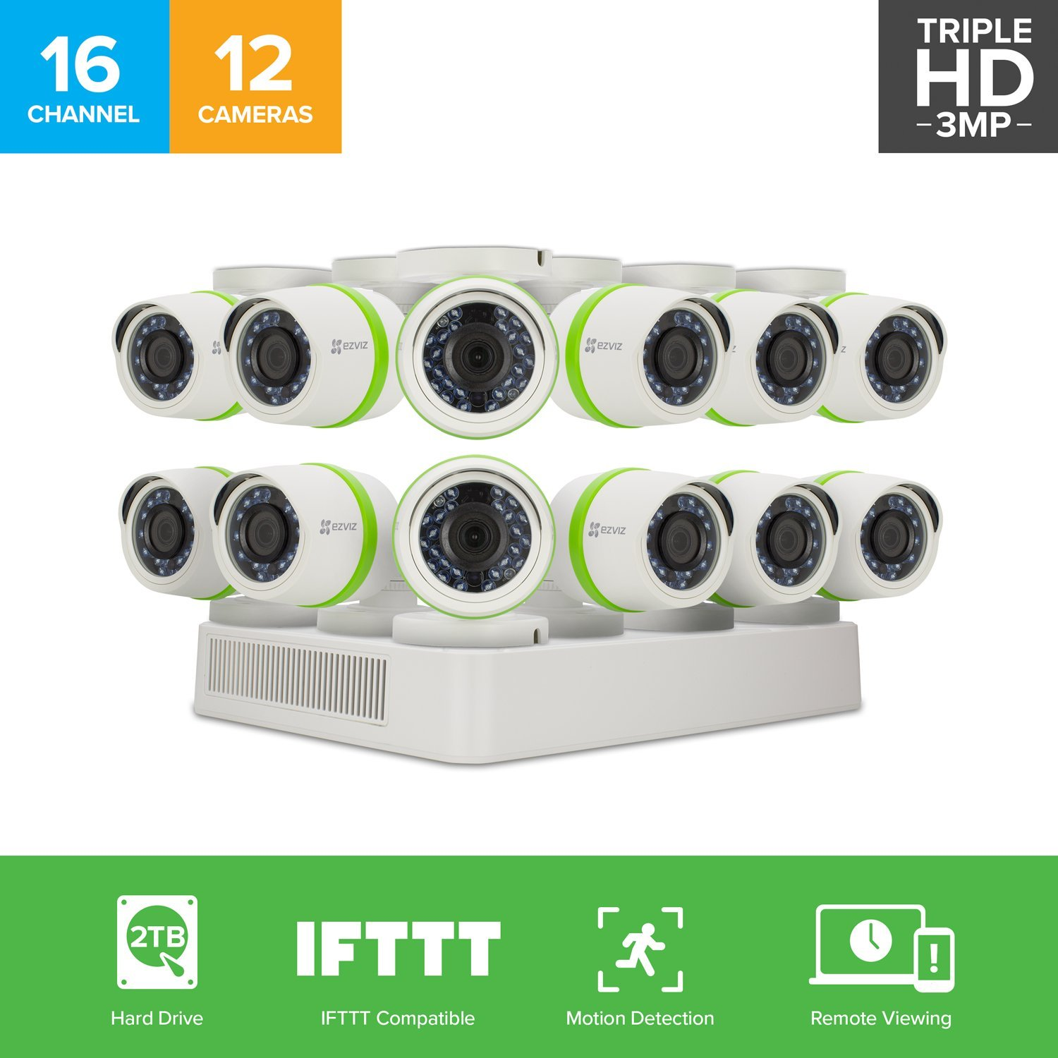 EZVIZ 3MP OutdoorSecurity Camera System, 12 HD Weatherproof Cameras, 16 Channels with 2TB DVR