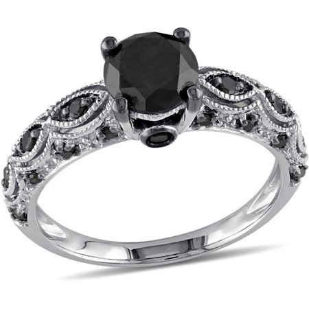 1 1 4 Carat T W  Black Diamond 10Kt White Gold Engagement Ring