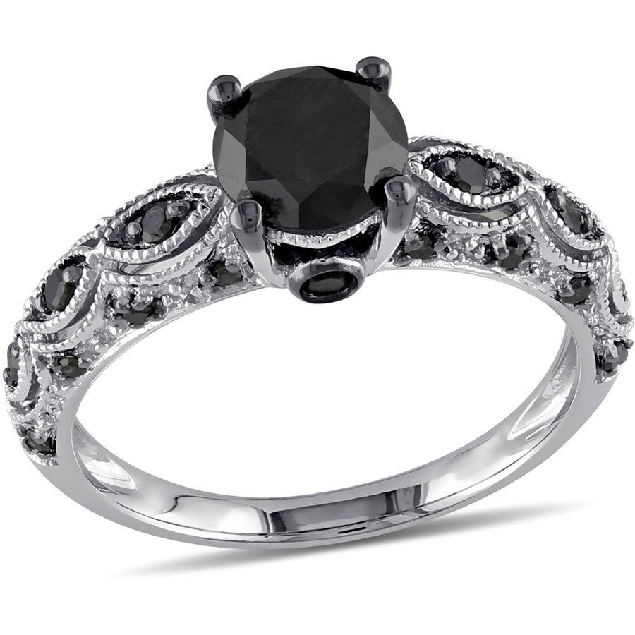 Asteria 1-1/4 Carat T.W. Black Diamond 10kt White Gold Engagement Ring