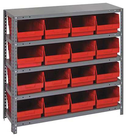 Bin Shelving,Solid,36X12,16 Bins,Red QUANTUM STORAGE SYSTEMS 1239-207RD