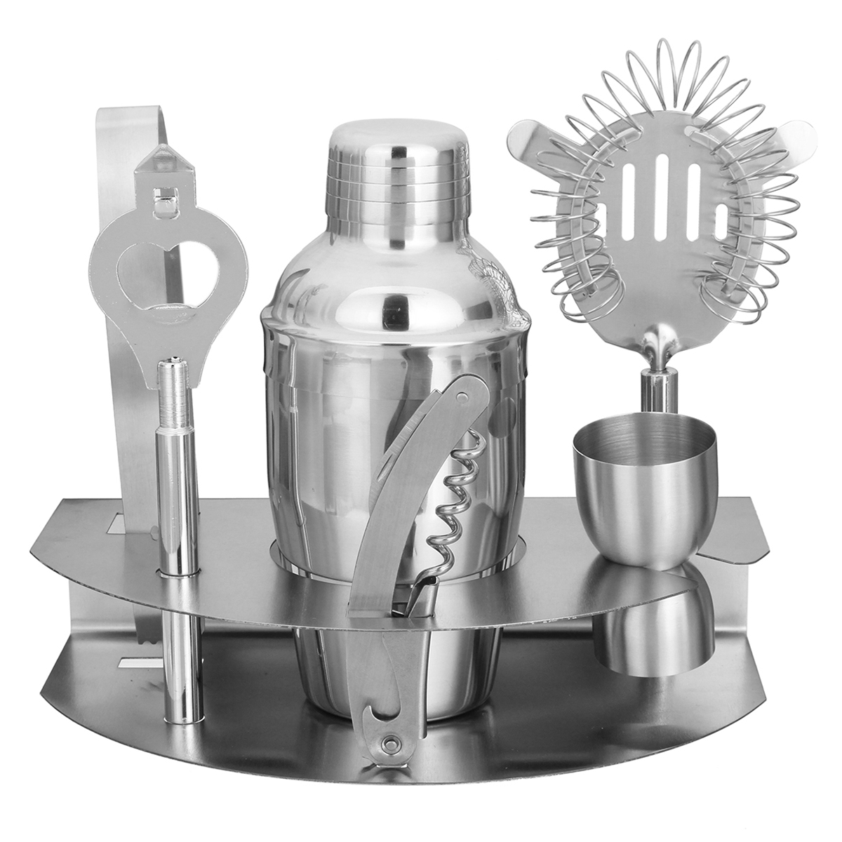 Bartender Shaker Cocktail Drink Mixer Professional Bar Set 7 Piece Stainless Steel Bar Set Tools Martini Kit by