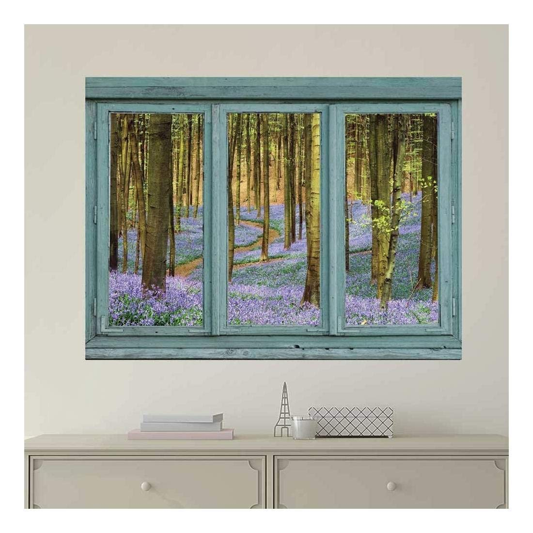 wall26 Vintage Teal Window Looking Out Into a Purple Field Forest - Wall Mural, Removable Sticker, Home Decor - 24x32 inches