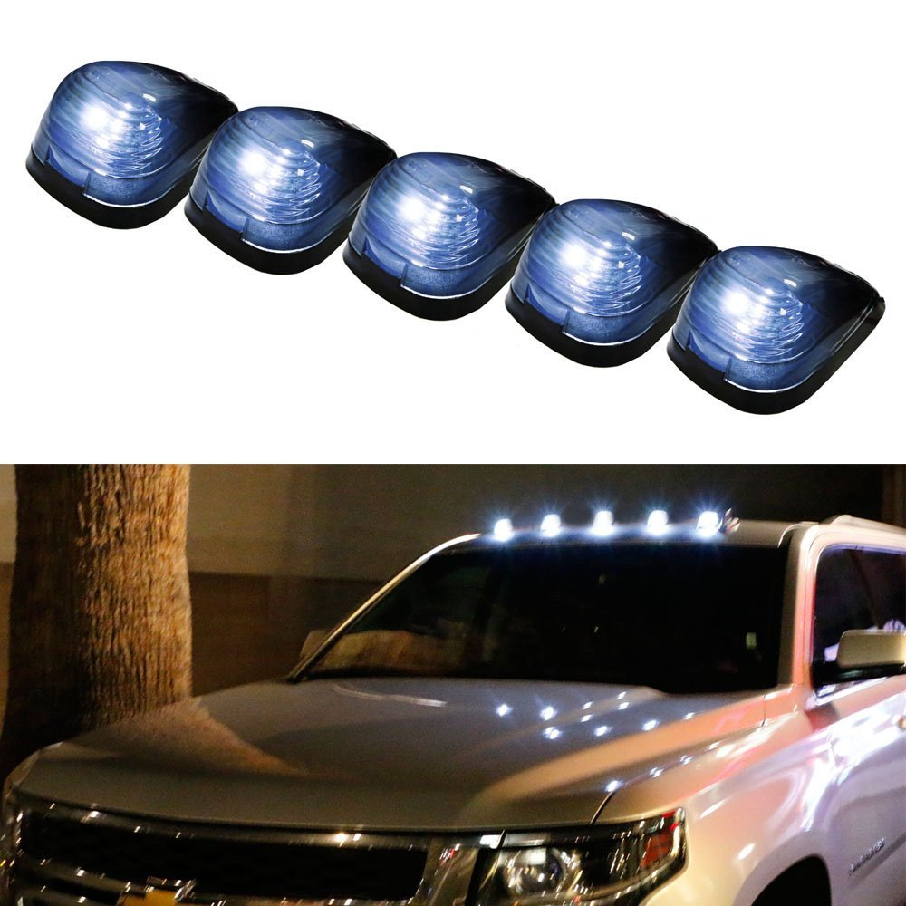 iJDMTOY 5PCS Black Smoked LED Cab Roof Top Marker Running Lamps With White LED Lights For Ford F150 F250 F350 Dodge RAM GMC Sierra 1500 2500 Chevrolet Silverado Toyota Tundra Tacoma Truck SUV And More