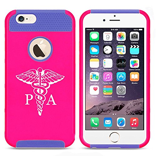 Apple iPhone 5c Shockproof Impact Hard Case Cover PA Physician Assistant Caduceus (Hot Pink-Blue),MIP