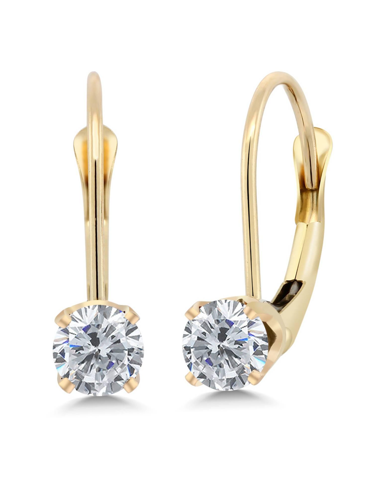 Mia Diamonds 14k Yellow Gold 6mm Garnet Leverback Earrings