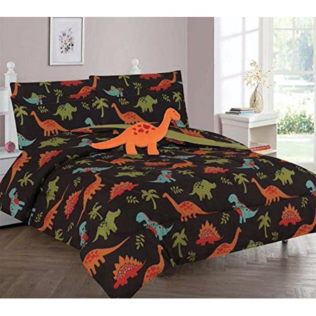 Brown Dinosaur Full Size Kids Comforter Set Bed In a Bag W ...
