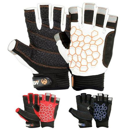 Sailing Gloves Sticky Palm Gripy Glove Yachting Kayak Dinghy Fishing Short Finger Black / White, S