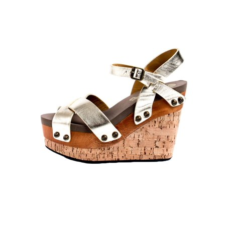 bfe52a0c287 Flogg - Flogg Women s Lexi Platform Wedges Grey Leather Wood Cork Foam 6 M  - Walmart.com