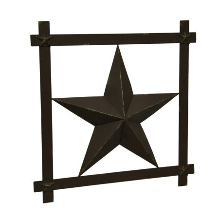 Rustic Brown Barn Star In Square Frame Wall Hanging