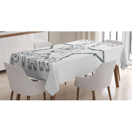 Popstar Party Tablecloth, Rock Star Theme High Sign and Star Figure Grungy Sketch Gesture Vintage, Rectangular Table Cover for Dining Room Kitchen, 60 X 84 Inches, Black and White, by - Rock Star Party Theme