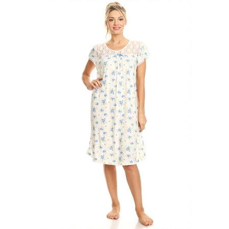 806 Women Pajamas Night Gown Sleepwear Night Shirt Blue M (Renaissance Gowns Plus Size)