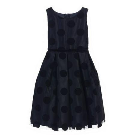 Big Girls Navy Black Polka Dot Flocked Mesh Christmas Dress 7-16