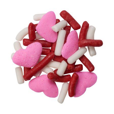 Red & White Jimmies with Pink Hearts Edible Confetti Sprinkles - 8 - Pink Sprinkles