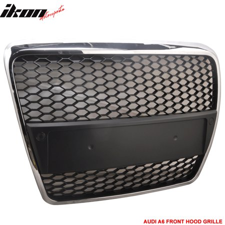 Fits 05-10 Audi A6 C6 RS Chrome Front Mesh Hood Grille Grill