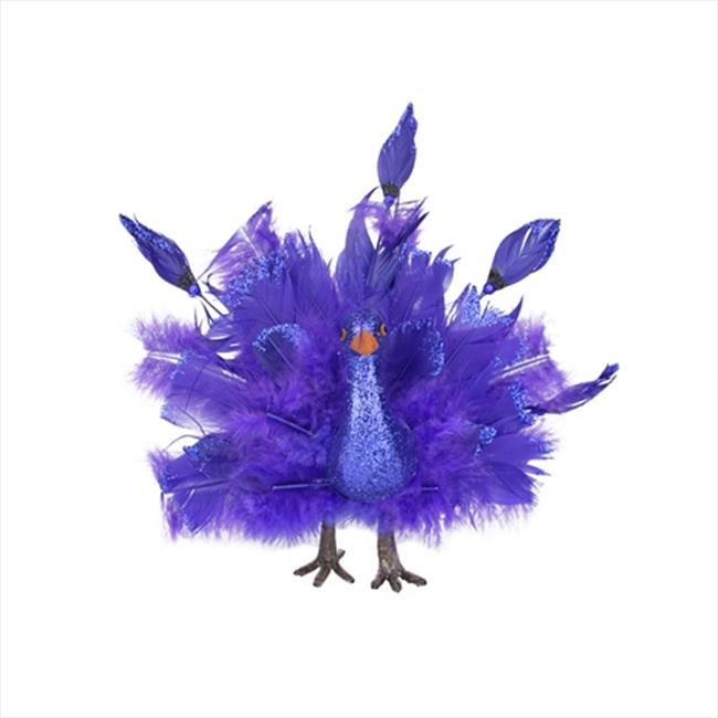 NorthLight 10 inch Colorful Royal Blue Feather Peacock With Open Tail Feathers Christmas Decoration