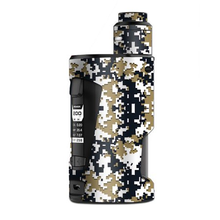Skin Decal Vinyl Wrap for Geekvape GBox Squonk Kit 200W Vape Kit skins stickers cover / Digi Camo Sports Teams Colors digital camouflage Gold Blue
