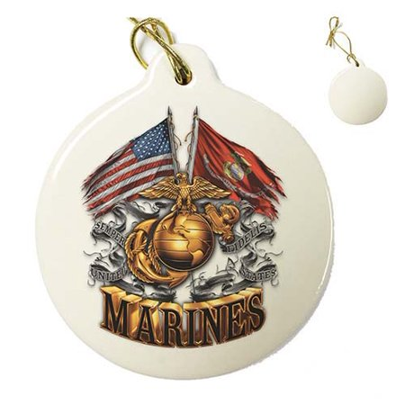US Marines Double Flag Gold Globe Marine Corps Porcelain Ornament