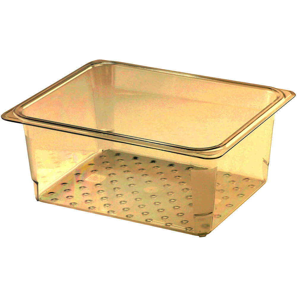 """Cambro High Heat Perforated Pan / Colander, 1/2 GN, 5"""" Deep, 6PK, Amber, 25CLRHP-150"""