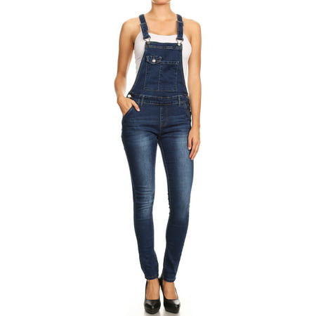 Women's Juniors / Plus Stretch Denim Jean 6 Button Adjustable Straps Overalls