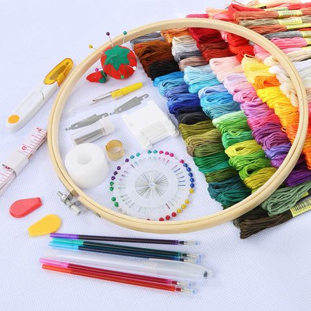 Freedo 100 Pieces Embroidery Kit with Instructions, 100 Colors Threads, 5 Pieces Bamboo Embroidery Hoops, Cross Stitch Tools for Adults and Kids Beginners - image 5 de 7