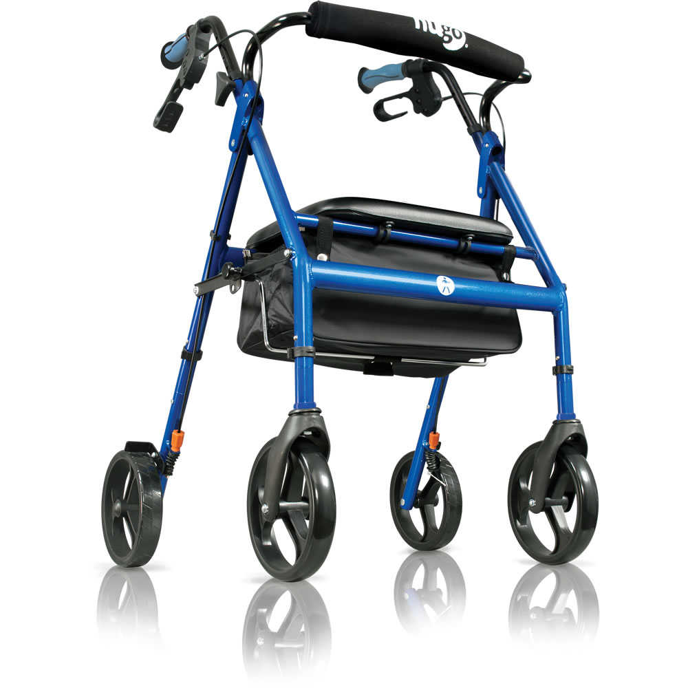 Hugo Pacific Blue Rolling Walker Rollator with a Seat