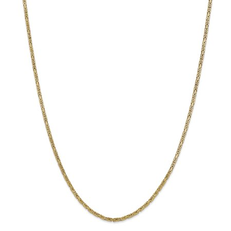 14k Yellow Gold 2mm Link Byzantine Necklace Chain Pendant Charm