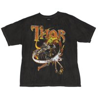 Thor (Marvel Comics) Mens T-Shirt - Firery Red & Yellow Hammer Throw Image