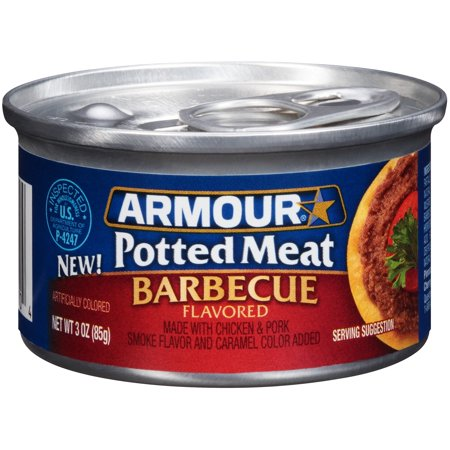 - (4 Pack) Armour BBQ Flavored Chicken & Pork Potted Meat, 3 oz Can