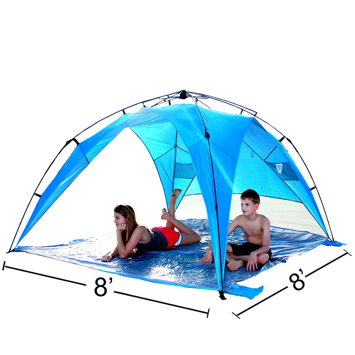 8 Foot Shelter XL - Instant Beach Umbrella Tent Pop Up with PVC Floor - 8' X 8'