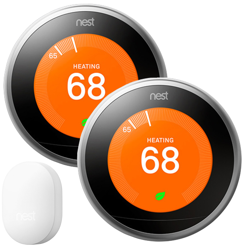 2-Pack Nest Learning Thermostat - 3rd Gen (Stainless Steel) T3007ES with Connect