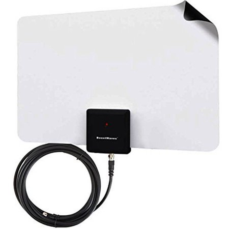 BoostWaves Supreme Amplified Razor 60 Mile HDTV Indoor Flat Leaf Antenna with RG6 Cable