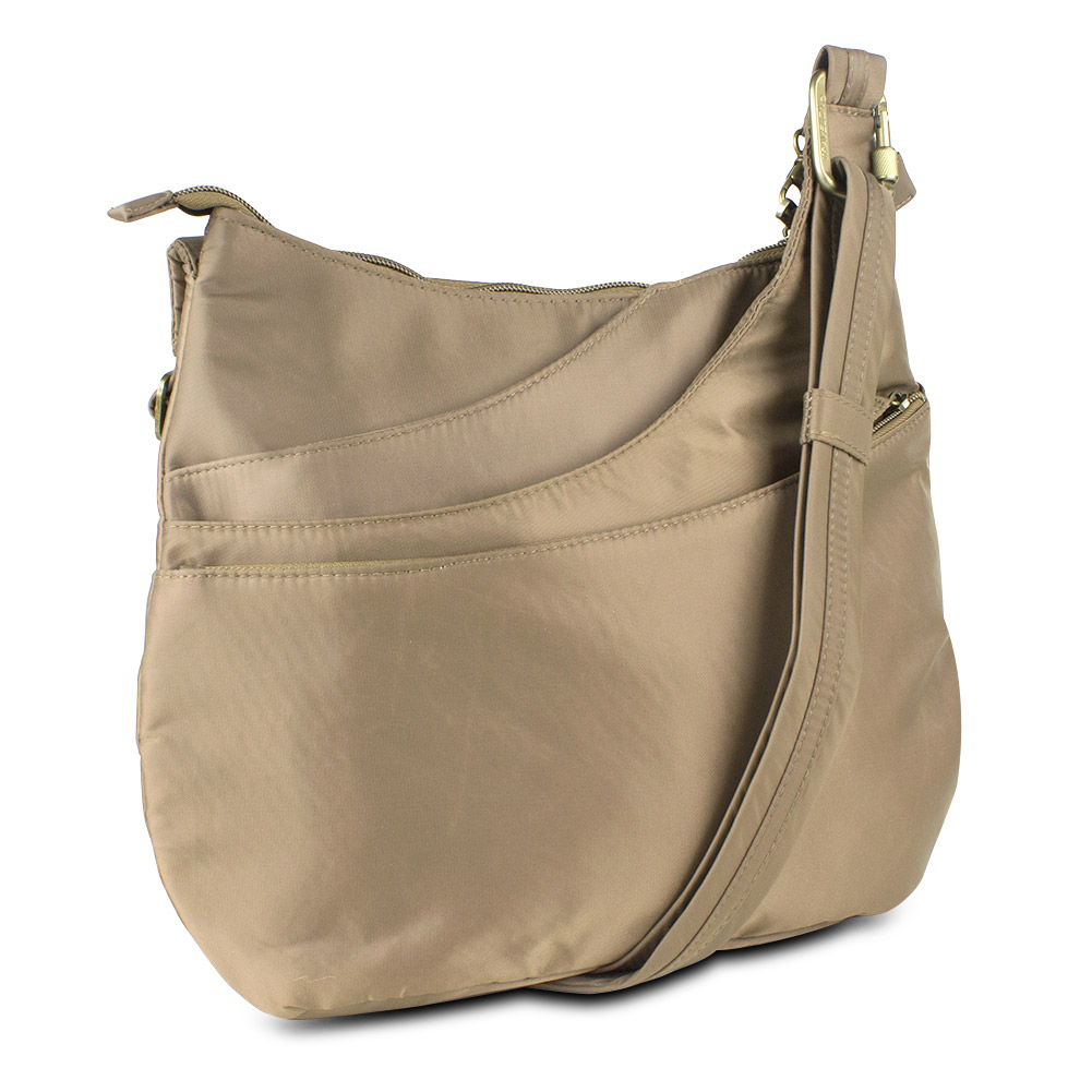 Anti-Theft Drape Pocket Crossbody w/ RFID Protection, Beige