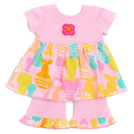 Baby Lulu Girls Pink Pears Short Sleeve Swing Top Pants 2 Pcs Outfit Set