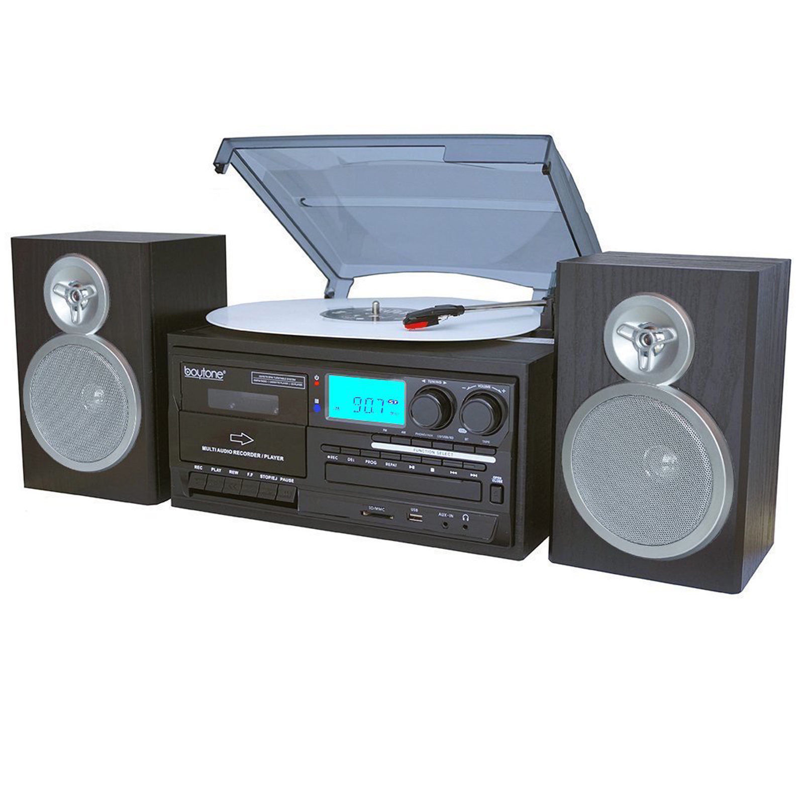 USB//SD Recording Remote FM Bluetooth Trexonic 3-Speed Turntable w// CD Player