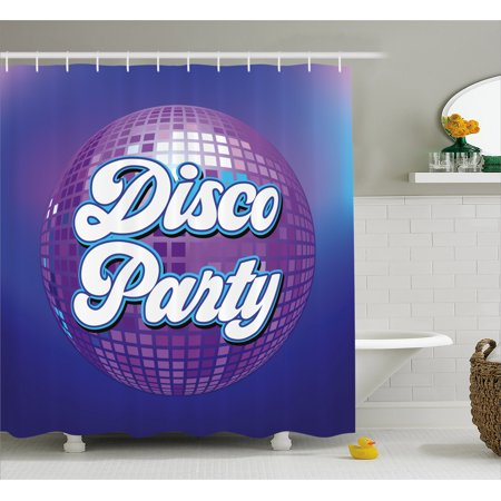 70s Party Shower Curtain, Retro Lettering on Disco Ball Night Club Theme Dance and Music Art Print, Fabric Bathroom Set with Hooks, 69W X 75L Inches Long, Purple Blue White, by Ambesonne - Disco Theme
