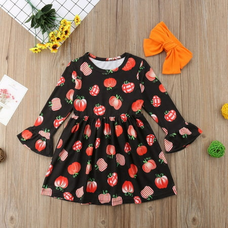 Cute Toddler Kids Baby Girls Halloween Pumpkin Party Dress Clothes - Cute Kids Halloween