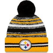Pittsburgh Steelers New Era Youth 2021 NFL Sideline Sport Pom Cuffed Knit Hat - Black/Gold - OSFA