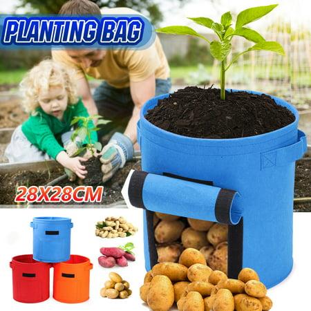 Outdoor Round Potato Grow Bag Planter Bag Planting Bag Nonwoven Plant Growth Pouch Tomoto Growing Pot Potato Planting Bag for Garden (Best Red Potatoes To Grow)