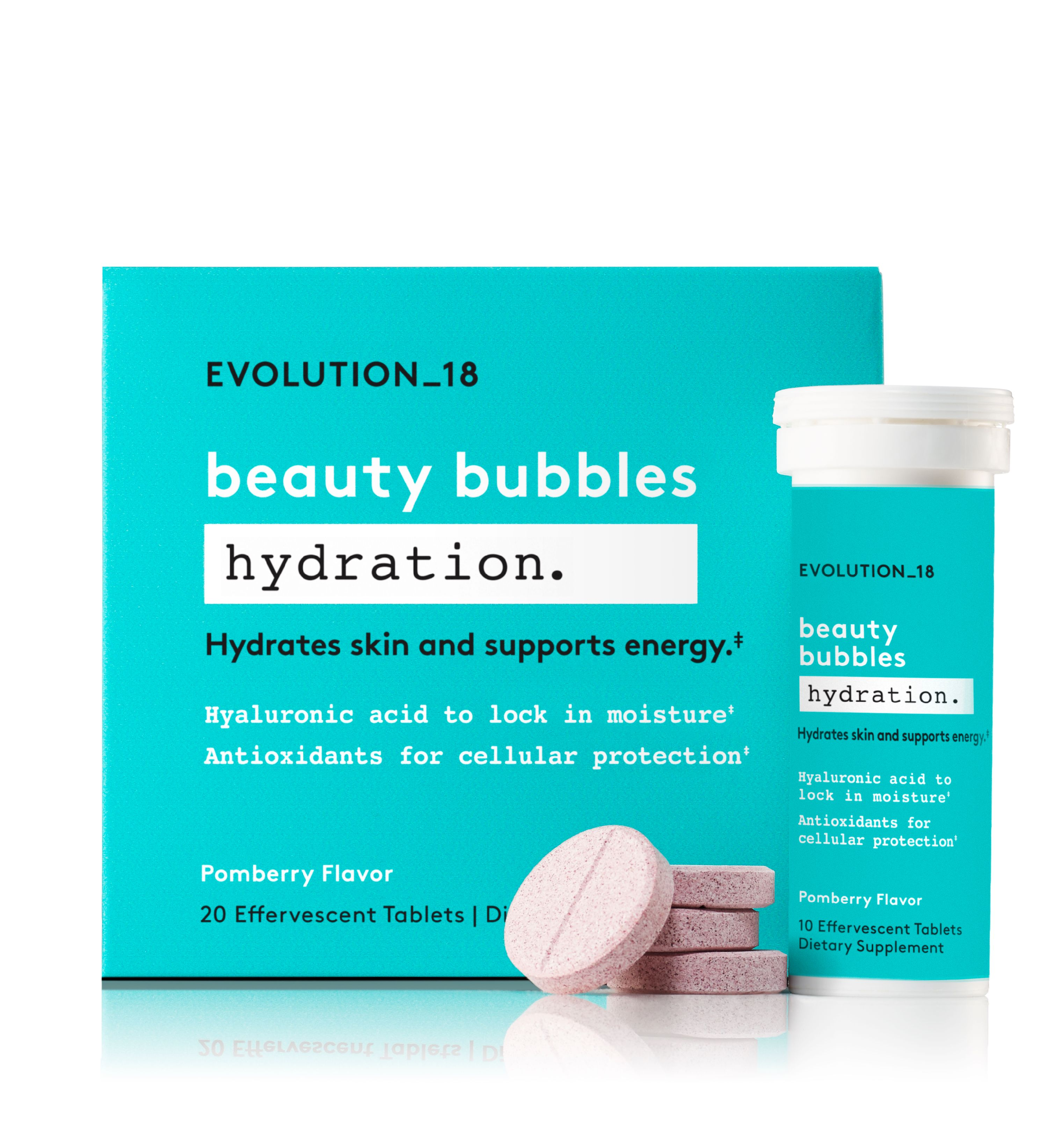 EVOLUTION_18 Beauty Bubbles Hydration Antioxidant Blend Tablets, Pomberry, 20 Servings