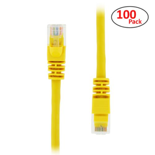 GearIt (100 Pack) 1.5 Feet Cat5e Ethernet Patch Cable - Computer LAN Network Cord, Yellow - Lifetime Warranty