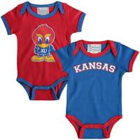 Kansas Jayhawks Newborn & Infant 2-Pack Bodysuit Set - Royal/Red