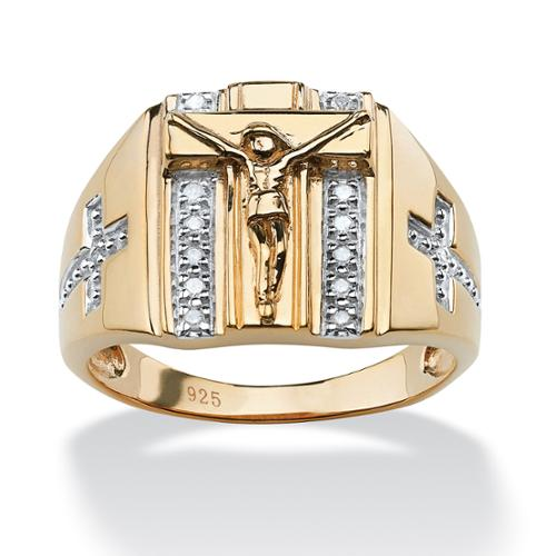 Men's 1/10 TCW Round Diamond Crucifix and Cross Ring in 18k Gold over Sterling Silver Sizes 9-13 - Size 11