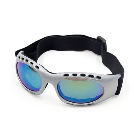 Silver Tone Frame Colorful Lens Motorcycle Motocross Eye Protective Goggles
