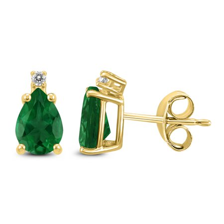 Emerald Diamond Pearl - 14K Yellow Gold 6x4MM Pear Emerald and Diamond Earrings