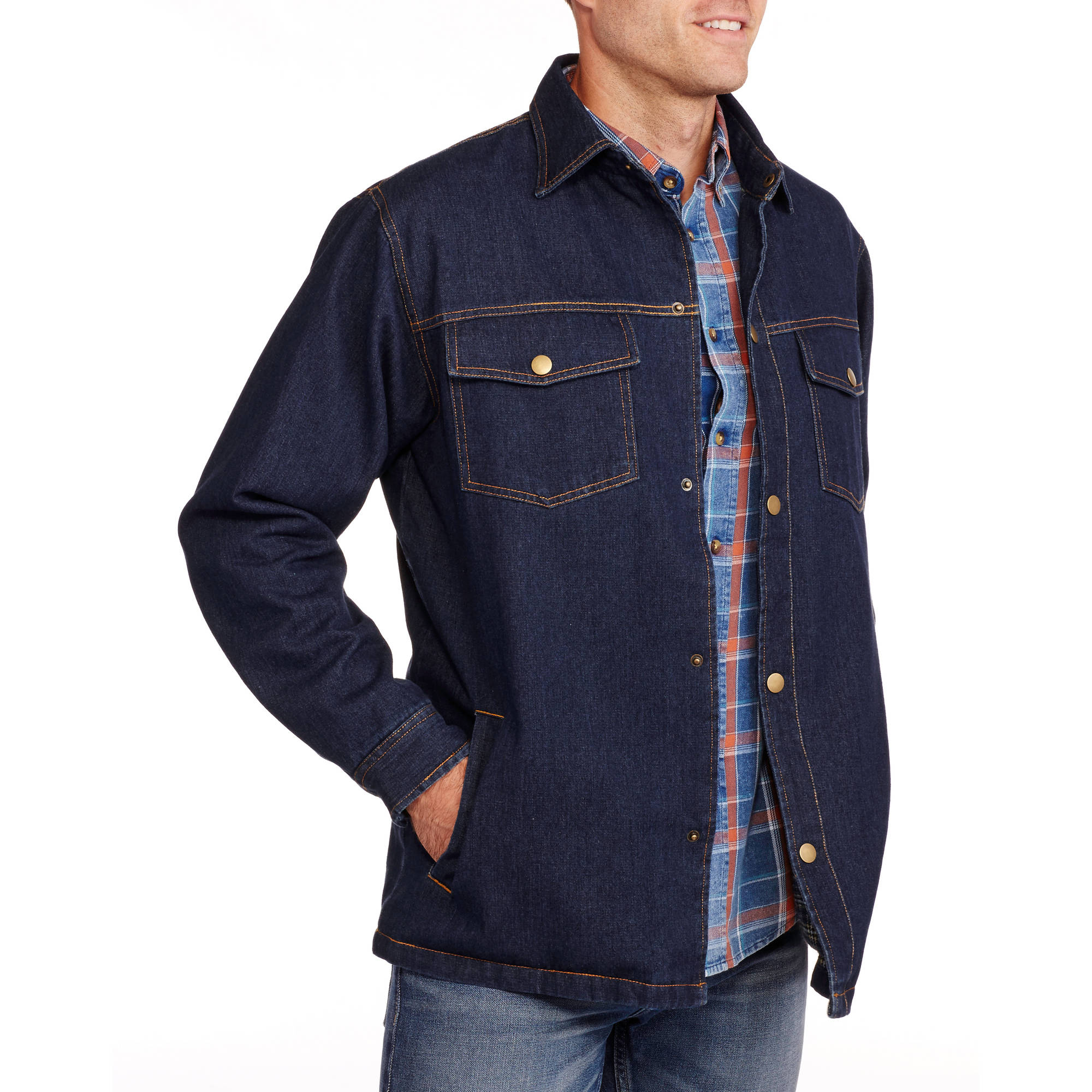 Men's Plaid Fleece Lined Denim Jacket