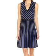 Anne Klein Black Blue V Neck Fit & Flare Sweater Dress L
